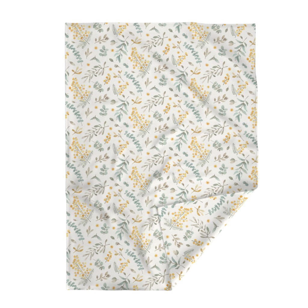 Lakenvelder Throw Blanket featuring Australian wattle and eucalyptus watercolor floral  - LARGE by lolahstudio