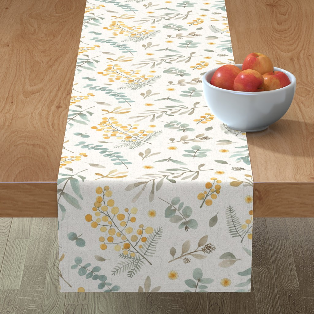 Minorca Table Runner featuring Australian wattle and eucalyptus watercolor floral  by lolahstudio