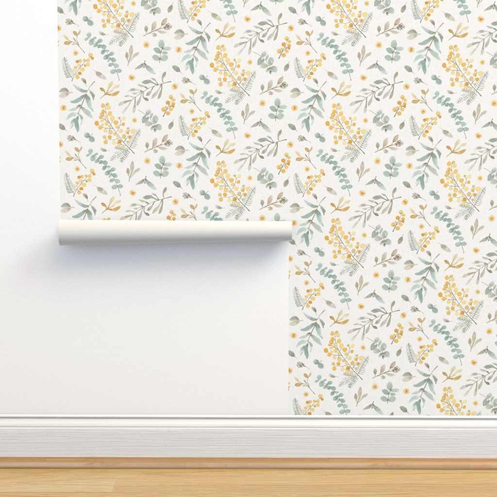 Isobar Durable Wallpaper featuring Australian wattle and eucalyptus watercolor floral  - LARGE by lolahstudio