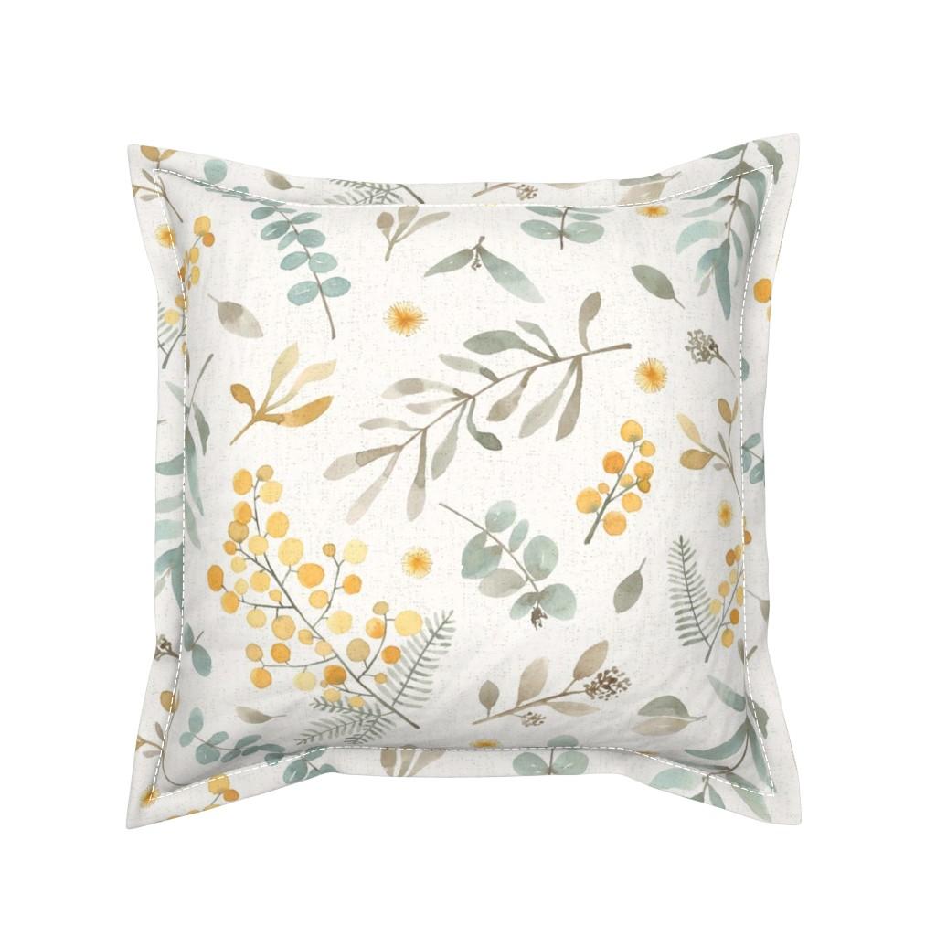 Serama Throw Pillow featuring Australian wattle and eucalyptus watercolor floral  by lolahstudio