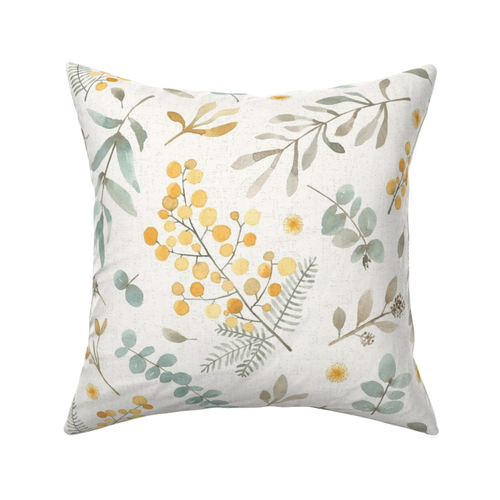 Catalan Throw Pillow featuring Australian wattle and eucalyptus watercolor floral  by lolahstudio