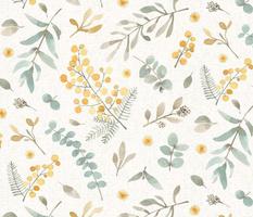 Australian wattle and eucalyptus watercolor floral  - LARGE