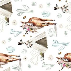 """8"""" Spring Boho Floral Horse White 90 degrees"""