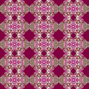 Hearts, Flowers, and Butterfly magenta cheater quilt