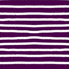 Sketchy Stripes // White on Eggplant