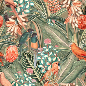 "18"" Pierre-Joseph Redouté tropicals Lush tropical vintage Jungle blossoms summer bird paradise in sepia orange"