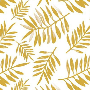 Botanical watercolor garden palm leaves summer beach monochrome yellow ochre