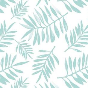 Botanical watercolor garden palm leaves summer beach monochrome mint green pastel