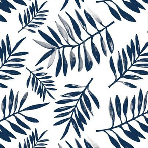 Botanical watercolor garden palm leaves summer beach monochrome navy blue