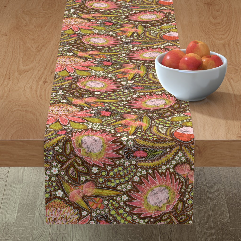 Minorca Table Runner featuring Tribal Aussie Flowers by helenpdesigns