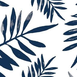 Botanical watercolor garden palm leaves summer beach monochrome navy blue JUMBO