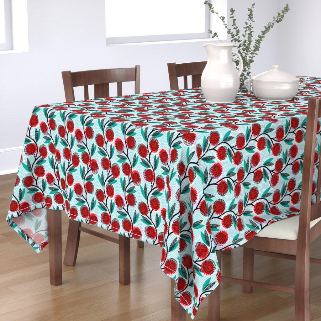 Bantam Rectangular Tablecloth featuring  Cinnamon Wattle-Scarlet Blaze-African by ottomanbrim