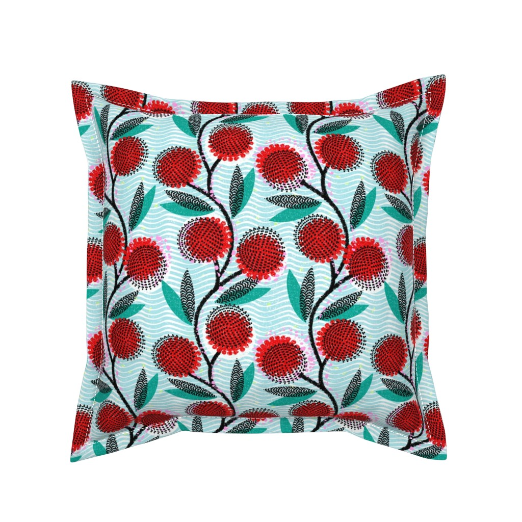 Serama Throw Pillow featuring  Cinnamon Wattle-Scarlet Blaze-African by ottomanbrim