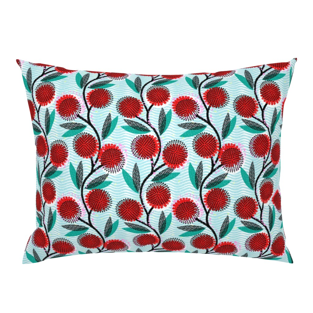 Campine Pillow Sham featuring  Cinnamon Wattle-Scarlet Blaze-African by ottomanbrim