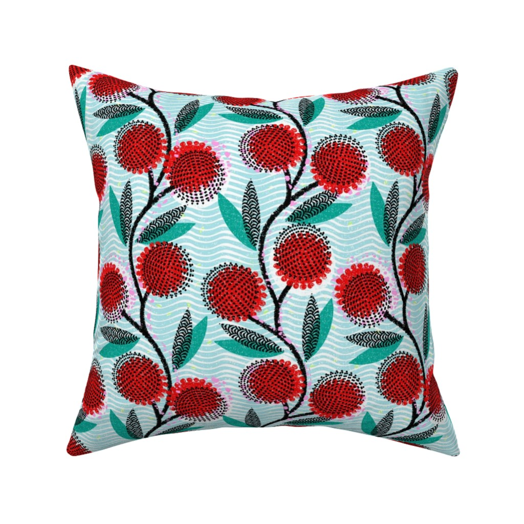 Catalan Throw Pillow featuring  Cinnamon Wattle-Scarlet Blaze-African by ottomanbrim