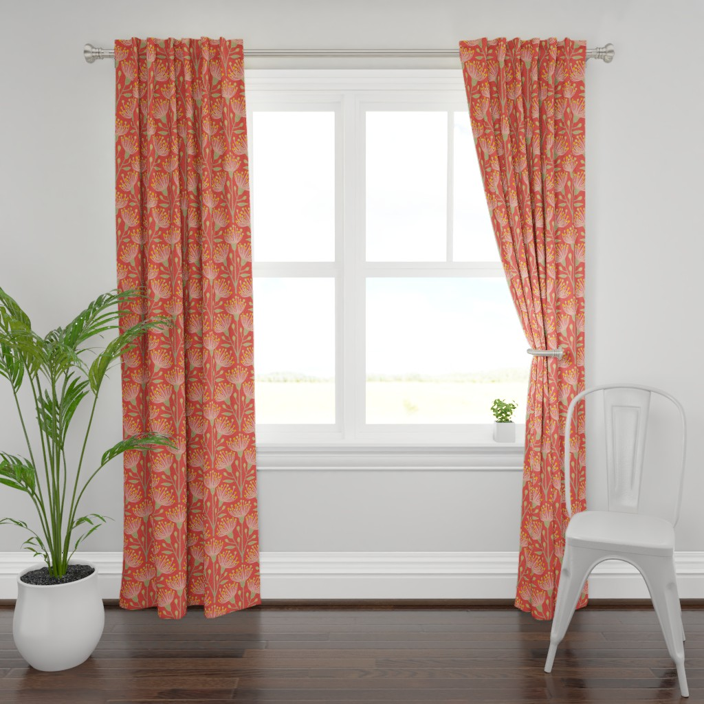 Plymouth Curtain Panel featuring Australian Eucalyptus Pink Orange Green Yellow by unblinkstudio-by-jackietahara