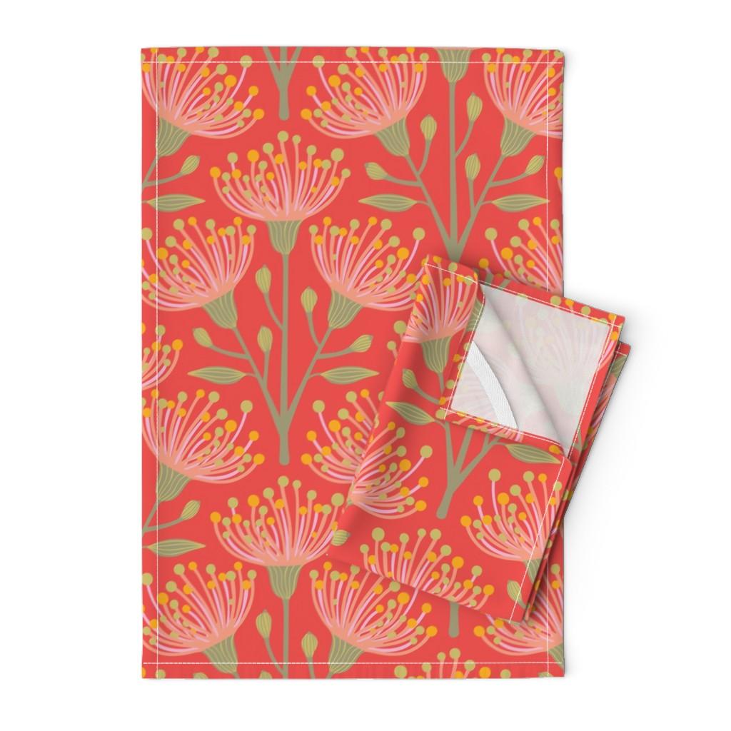 Orpington Tea Towels featuring Australian Eucalyptus Pink Orange Green Yellow by unblinkstudio-by-jackietahara
