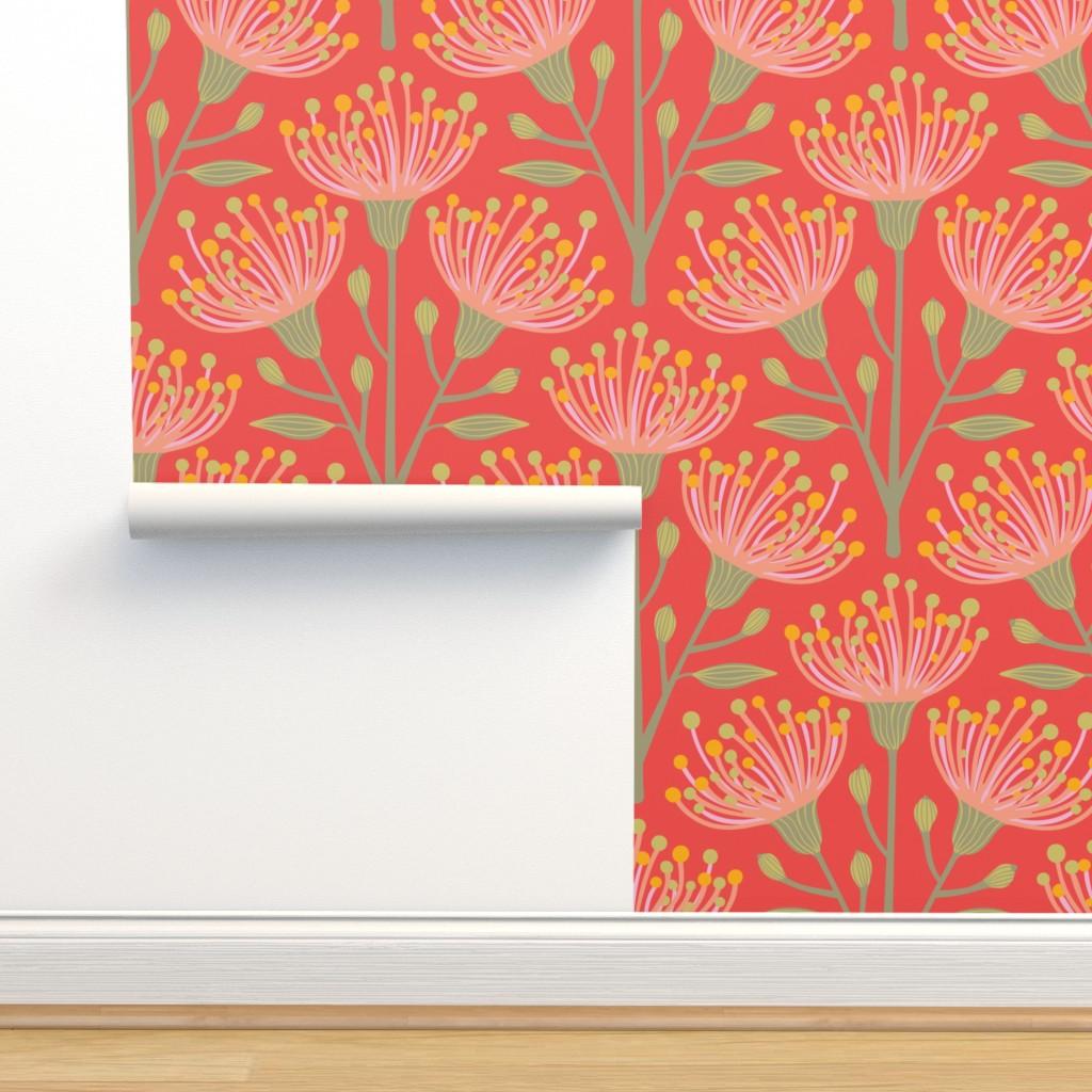 Isobar Durable Wallpaper featuring Australian Eucalyptus Pink Orange Green Yellow by unblinkstudio-by-jackietahara