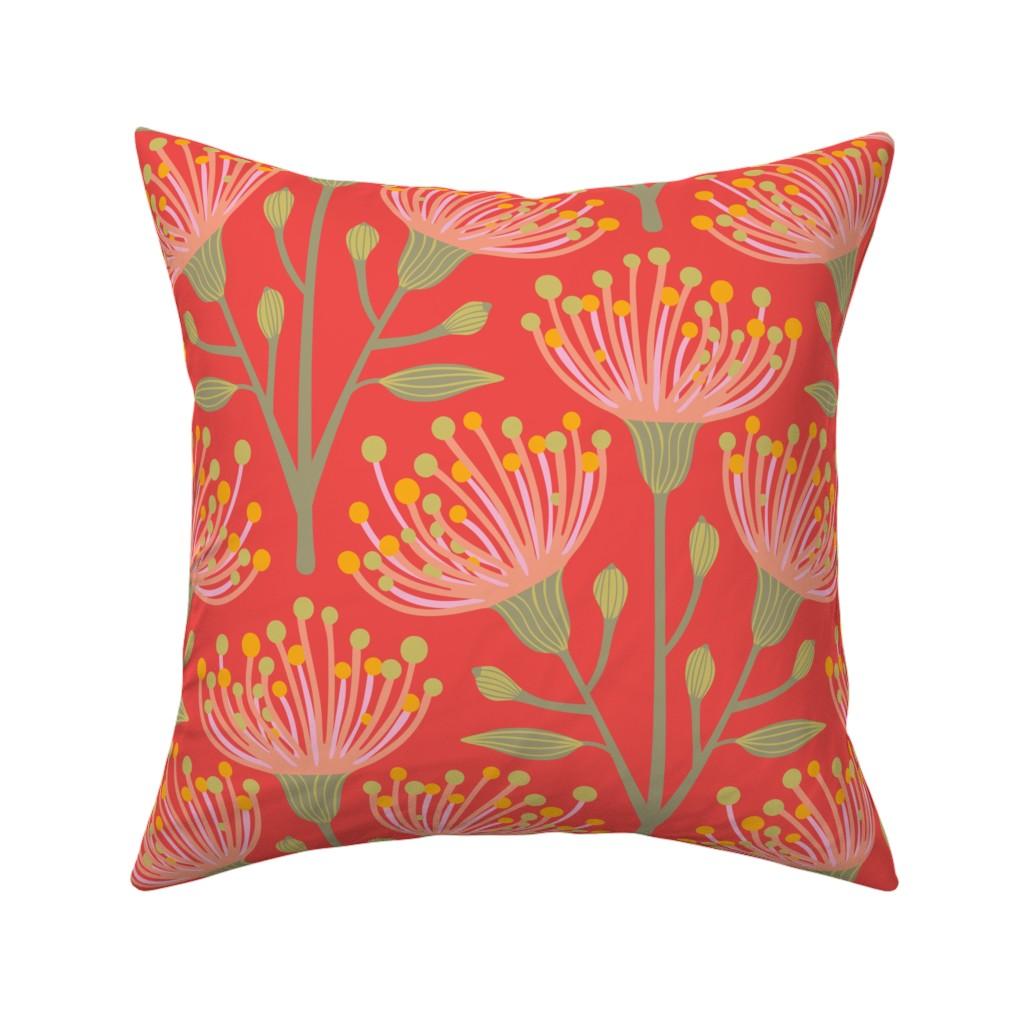 Catalan Throw Pillow featuring Australian Eucalyptus Pink Orange Green Yellow by unblinkstudio-by-jackietahara
