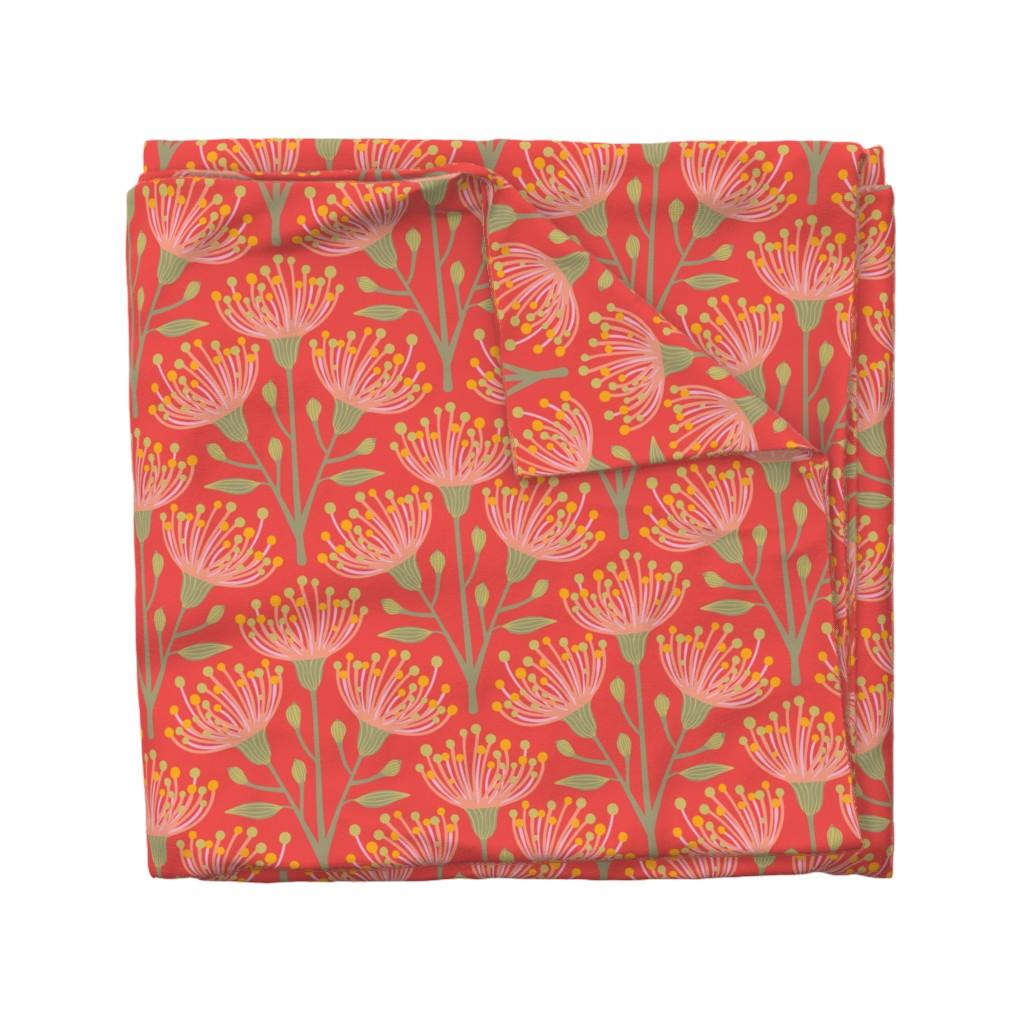 Wyandotte Duvet Cover featuring Australian Eucalyptus Pink Orange Green Yellow by unblinkstudio-by-jackietahara