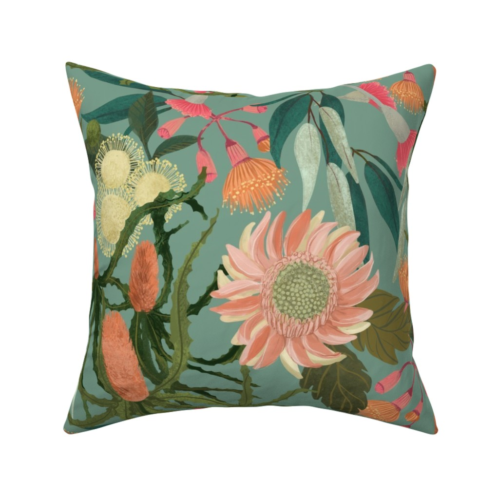 Catalan Throw Pillow featuring Australian Flora by heather_powers