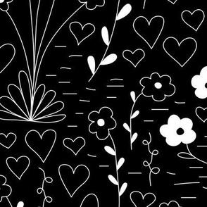 Cutsie Floral - Black - Large
