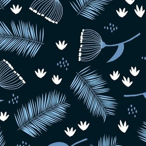 Australian wild flowers and leaves winter night print navy blue