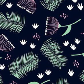 Australian wild flowers and leaves summer night print navy mint pink