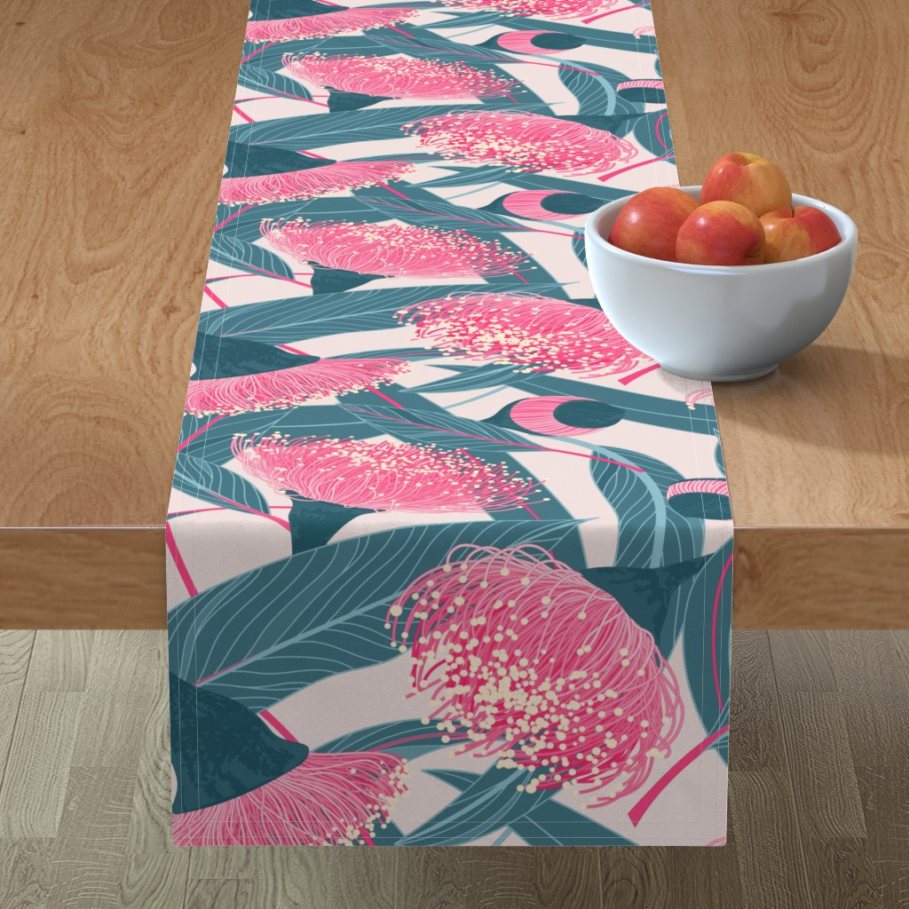 Minorca Table Runner featuring Dreamy eucalyptus by doodlena