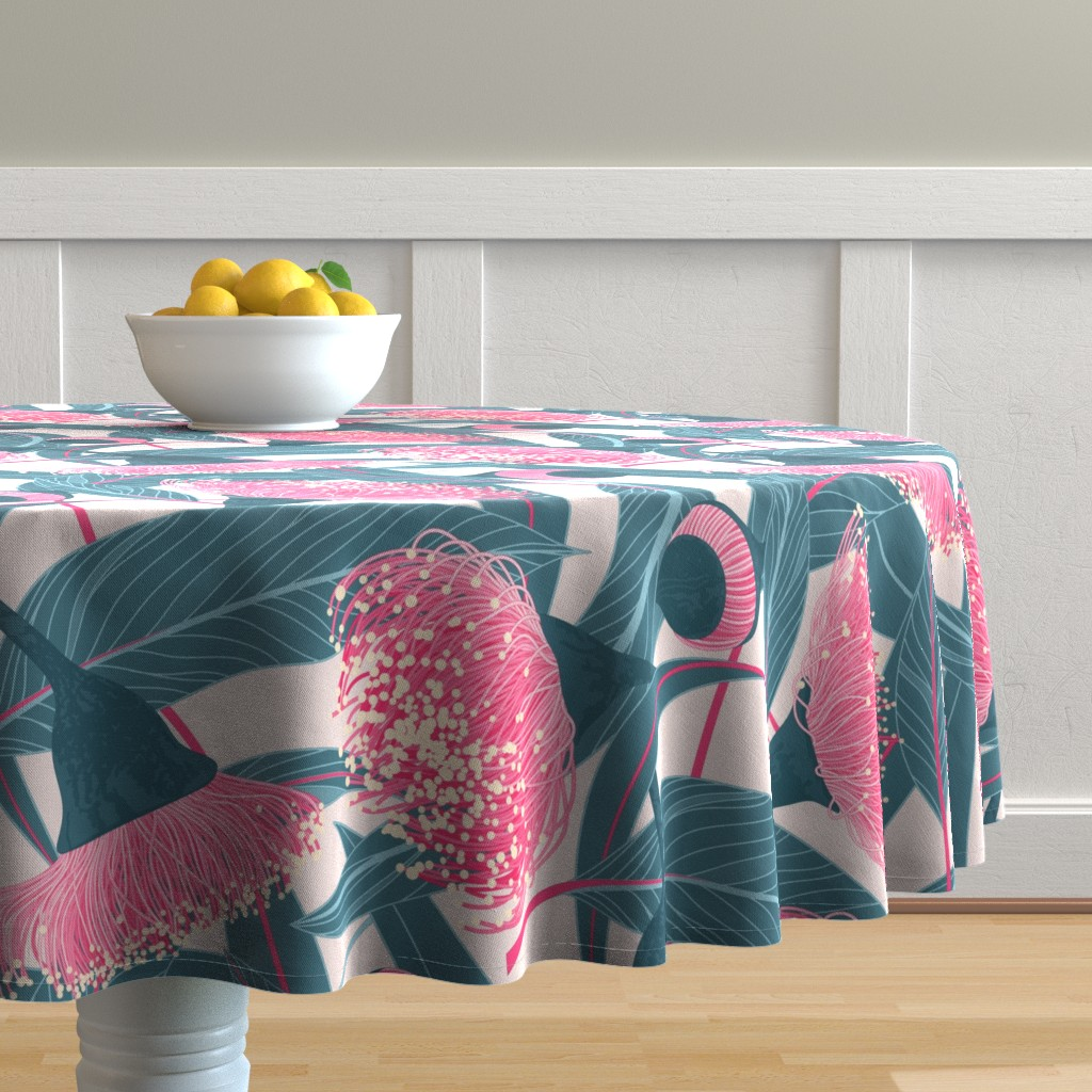 Malay Round Tablecloth featuring Dreamy eucalyptus by doodlena