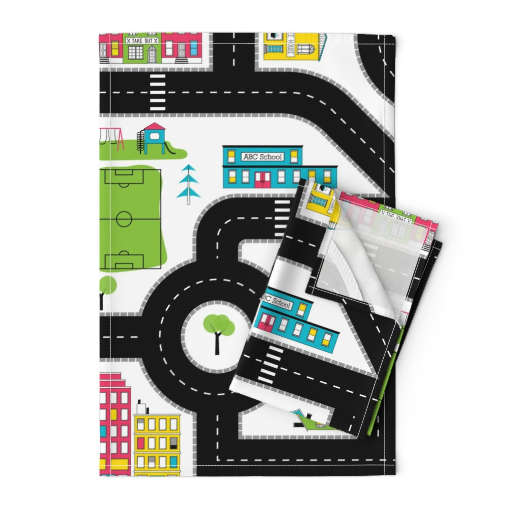 Orpington Tea Towels featuring Pop of Colour Playmat - One Yard by denisecolgan