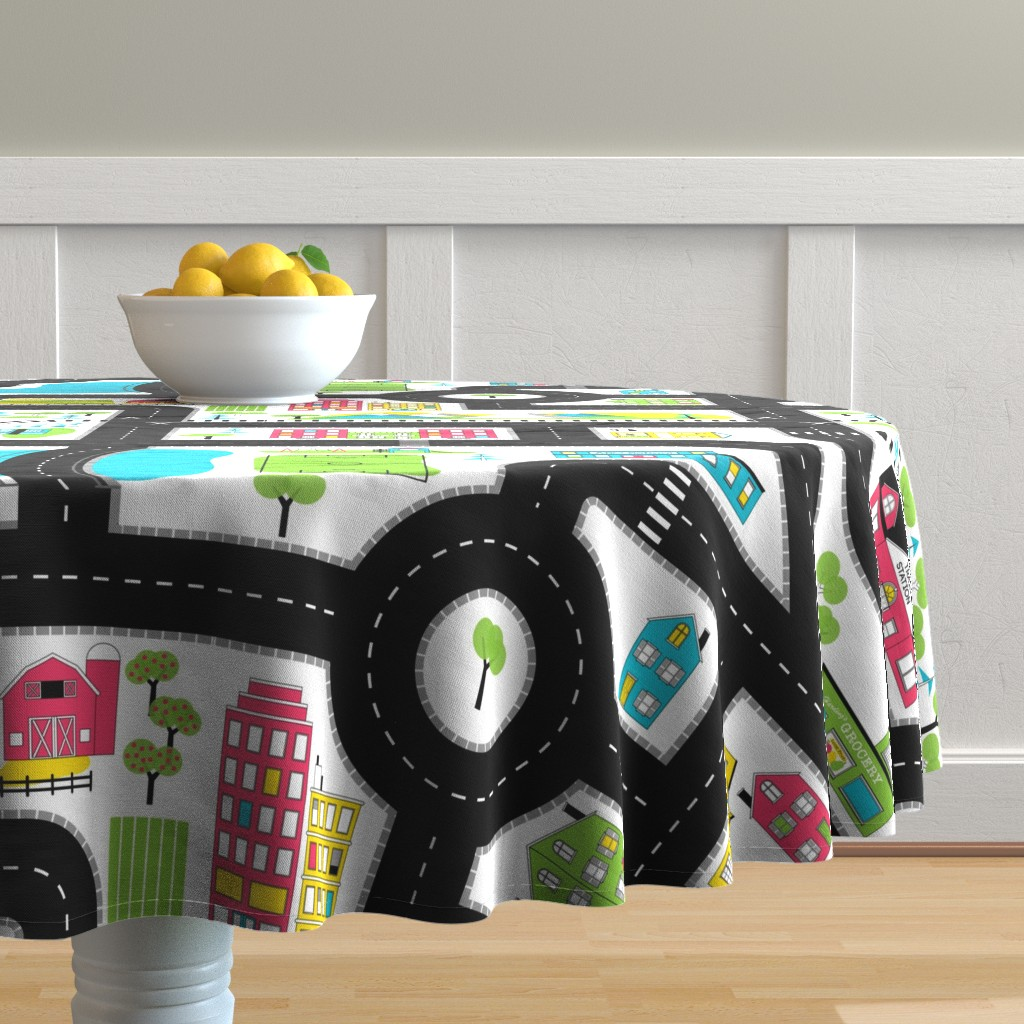 Malay Round Tablecloth featuring Pop of Colour Playmat - One Yard by denisecolgan