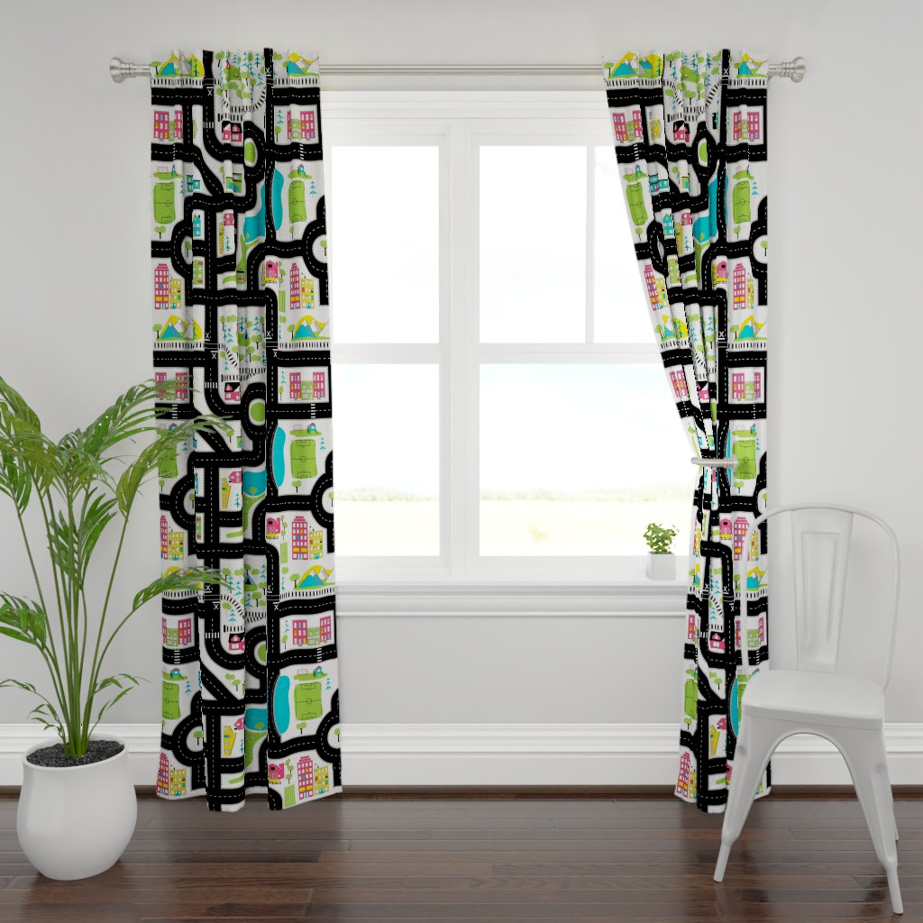 Plymouth Curtain Panel featuring Pop of Colour Playmat - One Yard by denisecolgan