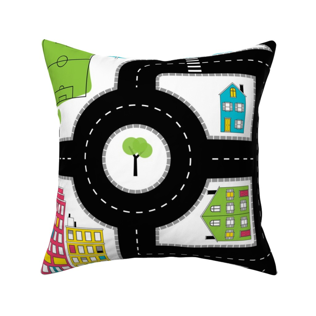Catalan Throw Pillow featuring Pop of Colour Playmat - One Yard by denisecolgan