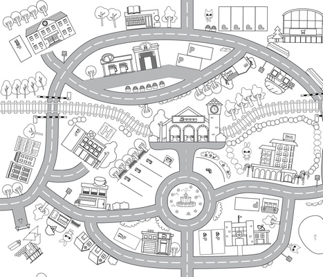 mini town - coloring playmat