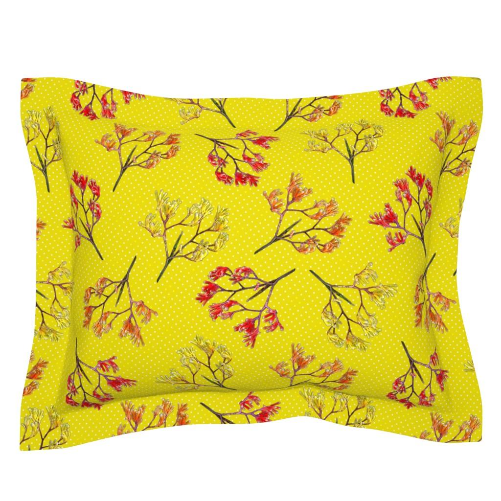 Sebright Pillow Sham featuring Kangaroo Paws on Safron (bright) - large by bravenewart