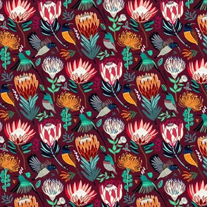 Sunbirds & Proteas On Maroon (Small Version)