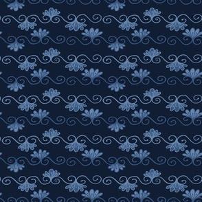 Indigo blue dye flower damask pattern