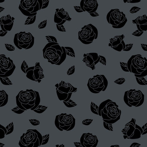Seamless vector pattern with black roses on dark grey background. Floral luxury wallpaper design. Romantic vintage fashion textile.