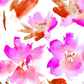 Passion flowers in shocking pink || watercolor florals