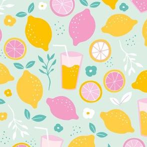 Hot summer oranges and lemon fruit colorful lemonade illustration kitchen food print in mint yellow pink