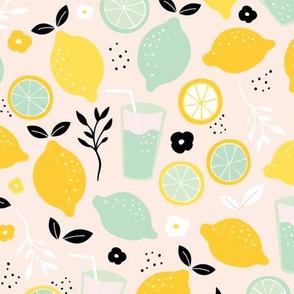 Hot summer oranges and lemon fruit colorful lemonade illustration kitchen food print in black yellow mint