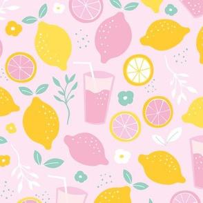 Hot summer oranges and lemon fruit colorful lemonade illustration kitchen food print in mint pink