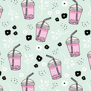 Bubble tea love and lemonade and japanese flower drinks summer sweet party mint pink