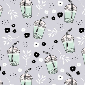Bubble tea love and lemonade and japanese flower drinks summer sweet party gray blue mint