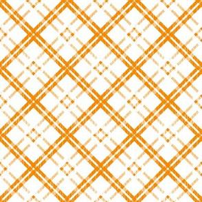 Grungy Diagonal Plaid - Tangerine on White
