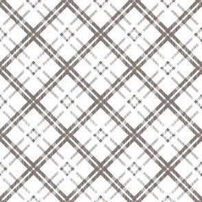 Grungy Diagonal Plaid - Gray on White