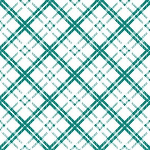 Grungy Diagonal Plaid - Teal Green on White