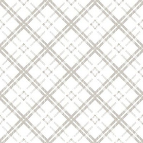 Grungy Diagonal Plaid - Greige on White