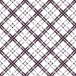 Grungy Diagonal Plaid - Violet on White